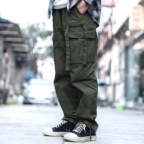 AND 19SS春季日系复古绑绳多口袋工装束脚裤男港风休闲长裤