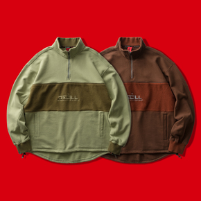 OSCill Soil patchwork hoodie 土壤 面料拼接半拉链刺绣卫衣外套