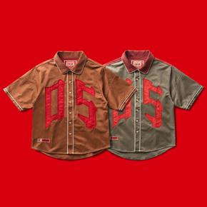 OSCill OS patchwork 拼接环保材质刺绣贴布宽松棒球短袖外套衬衫