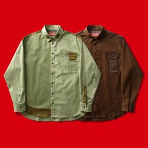 OSCill Soil patchwork shirt 土壤 舒棉拼接宽松长袖衬衫衬衣