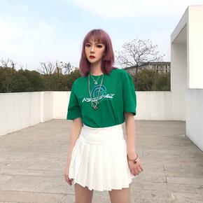 新因素 夏季三色日本标语短袖男女情侣休闲宽松T恤嘻哈潮牌