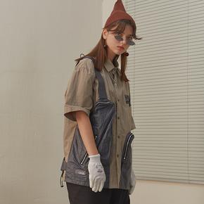 CHRROTA 机能复古不规则口袋拼接廓形衬衣男潮牌工装宽松短袖衬衫