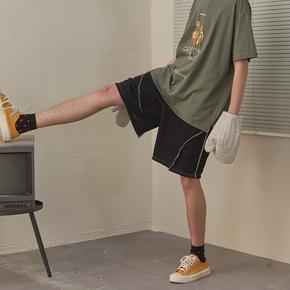CHRROTA 机能复古解构短裤男女国潮潮牌嘻哈宽松运动抽绳五分裤