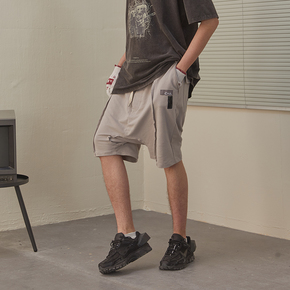 CHRROTA 机能复古立体解构主义吊档短裤男国潮抽绳宽松运动五分裤
