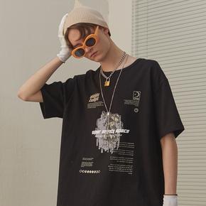 CHRROTA 宙斯概念印花宽松国潮短袖男潮牌嘻哈复古水洗情侣T恤
