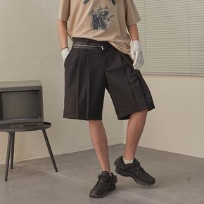 CHRROTA 廓形拼接宽松运动五分西裤复古嘻哈潮牌抽绳褶皱短裤男