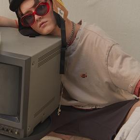 CHRROTA 国潮复古水洗做旧破坏短袖T恤男纯色嘻哈宽松印花情侣装