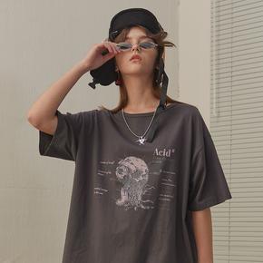 CHRROTA 国潮潮牌嘻哈骷髅头数据库印花情侣宽松短袖T恤男女复古