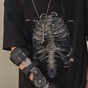 CHRROTA 复古骷髅胸腔手绘印花短袖潮牌OVERSIZE运动情侣T恤男女