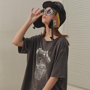 CHRROTA 复古嘻哈卡通摇滚乐队印花T恤男女国潮高街宽松情侣短袖