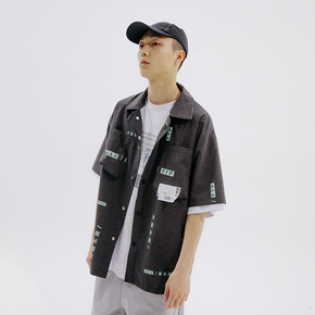 FLAM 嘻哈潮牌国潮 FYP 文字满印短袖衬衫男情侣衬衣