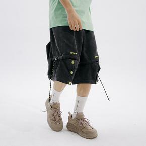 FLAM 嘻哈潮牌国潮 FYP 口袋工装短裤男灯芯绒五分裤