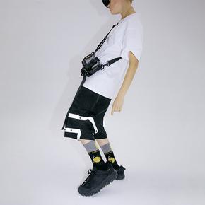 FLAM 嘻哈潮牌国潮 FYP 口袋条纹织带工装五分短裤男