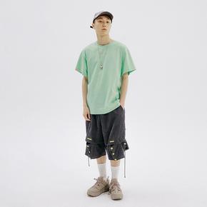 FLAM 嘻哈潮牌国潮 FYP文字印花半袖打底衫短袖T恤男