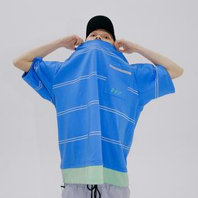 FLAM 嘻哈潮牌国潮 FYP 复古口袋T恤反光条纹短袖男