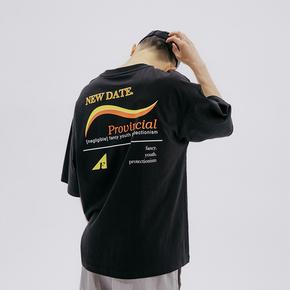 FLAM 嘻哈潮牌国潮 FYP复古火车站印花短袖半袖T恤男