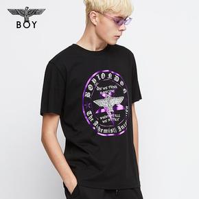 韩国直邮!BOYLONDON 韩版潮流 圆领休闲短袖百搭青少年T恤