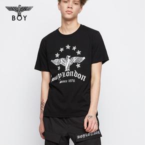 韩国直邮! BOYLONDON 韩版 圆领休闲短袖亮片双色青少年T恤