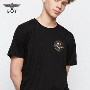 韩国直邮! BOYLONDON 韩版潮流 圆领休闲短袖烫金青少年T恤