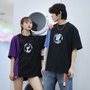 Cosbank七龙珠贝吉特悟天克斯合体男女情侣拼接短袖T恤潮