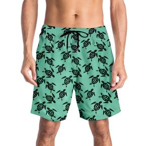 JOESPIRIT 欧美风 海边 度假风 速干 印花短裤 沙滩裤 time for the beach SKT904004#