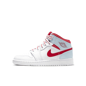 Air Jordan 1 Mid Ice Blue Topaz AJ1白红冰蓝篮球鞋 555112-104
