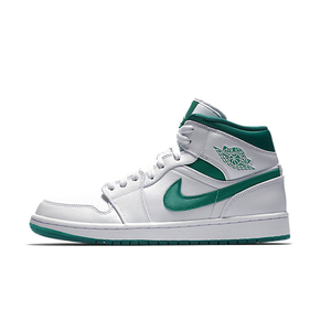 Air Jordan 1 Mid AJ1 白綠果凍底中幫籃球鞋