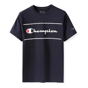 Champion冠军2019美版 经典草写双线短袖T恤圆领男女情侣款