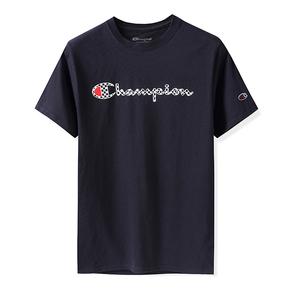 Champion冠军2019美版 新格子棋盘草写多色情侣T恤短袖