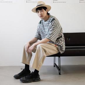 FMACM 2019SSGolden boy 织带条纹落肩宽松休闲短袖潮男T恤