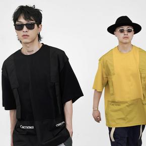 """FMACM 2019SS"""" Golden boy """"背带拼接落肩圆领短袖"""