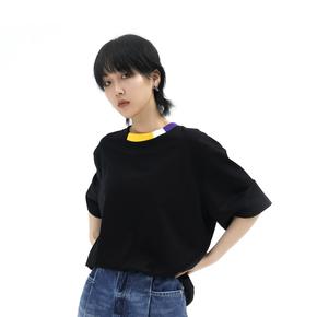 FMACM 2019SS 领口螺纹撞色拼接短袖 黑色宽松休闲落肩简约T恤