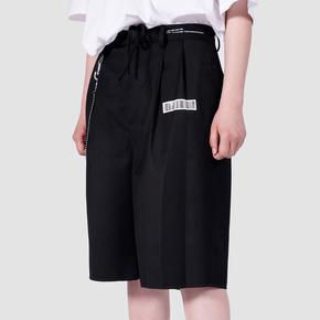 FMACM 2019SS 黑色条形码印花宽松直筒休闲西装 短裤百搭五分裤