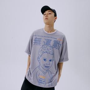 FLAM 嘻哈潮牌国潮 FYP无运动假笑男孩联名短袖T恤男