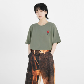 FMACM 2019SS  手工毛线钩花圆领短袖 军绿色复古花卉落肩宽松T恤