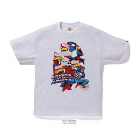 BAPE 漫威联名 美国队长大猿人头T恤 日本制