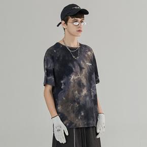 CHRROTA 复古多色扎染刷漆印花宽松情侣短袖T恤男女嘻哈潮牌街头