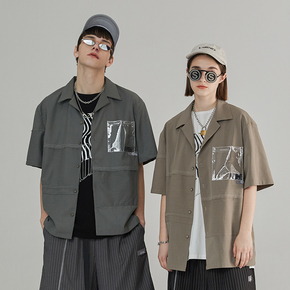 CHRROTA 不规则解构拼接复古短袖衬衫国潮牌PVC条纹廓形衬衣男女