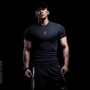 限时满赠!Monster Guardians Ultimate Tech 系列 男子暗夜黑金紧身衣 AZD14