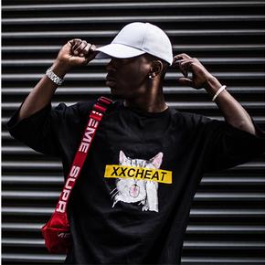 秒杀!XXCHEAT潮流时尚男女同款猫咪T恤