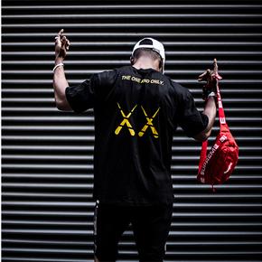 秒杀!XXCHEAT潮流时间男女同款三色背后印花T恤