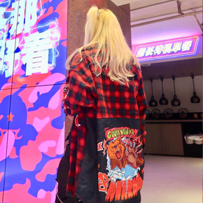 Guuka潮牌红色格子纯棉衬衫女 2018秋新款街舞拼接长袖衬衫
